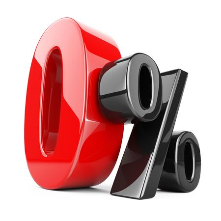 Glänzende rote und schwarze Null Prozent oder 0 % Sonderangebot . Isoliert über weißem Hintergrund 3D-Darstellung Standard-Bild - 94230244