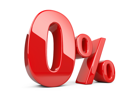 Red zero percent or 0 % special Offer. Isolated over white background 3d illustration. Stockfoto