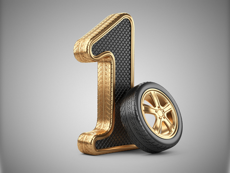 Number 1 from golden car tire. First place in the competition of auto racing. Award for victory - winner concept. 3d Illustration over white background. Stock Photo
