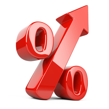 Red shiny and glossy percent symbol with an arrow up. Bussines growing concept 3d illustration isolated over white background, three-dimensional rendering.