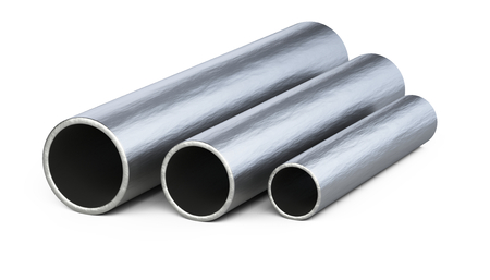 Steel pipes profile. 3d illustration isolated over white background.