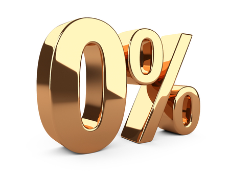 Golden zero percent or 0 % special offer. Isolated over white background 3d illustration. Stock Photo