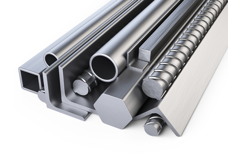 Steel profiles and pipes heap. Warehouse for construction materials. Isolated over white background 3d illustration. Stock Photo