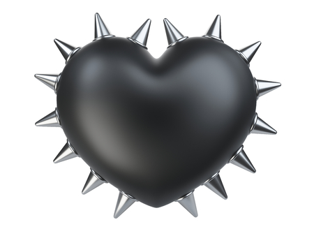 Evil black heart covered metallick thorns. Isolated over white background 3d illustration.