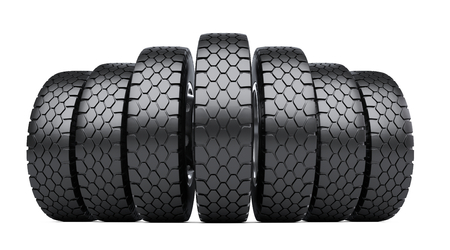 Row of big vehicle truck tires. 3d illustration over white background.