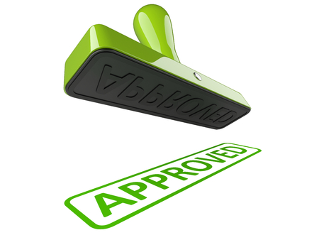 Rubber stamp with green word - approved. 3d illustration isolated over a white.