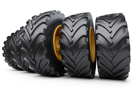 Big vehicle truck tires. New car wheels. 3d illustration over white background.