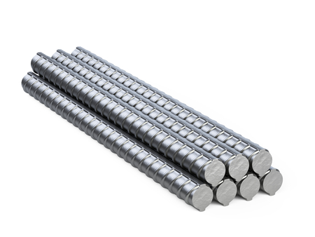 Reinforcements steel bars heap. New building armature. 3d illustration isolated on white background.