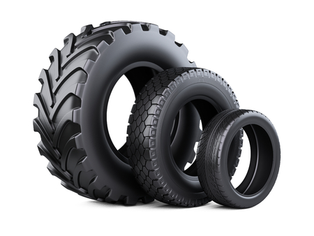 Set of three tires. New car wheels for cars and trucks. 3d illustration over white background.