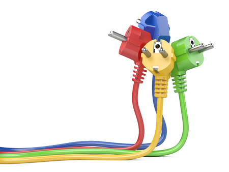 Group plugs colour group electric plug with long wires. Isolated on a white background 3d illustration. Power line concept.