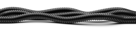 Black corrugated pipe for installation of electrical cable. Plastic curvilinear hoses set. 3d illustration over white background isolated.