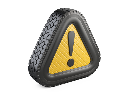 From tire warning attention sign with exclamation mark symbol. 3d illustration isolated on white background. Stock Photo