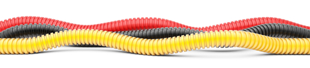 Colored corrugated pipe for installation of electrical cable. Plastic curvilinear hoses. 3d illustration over white background isolated.