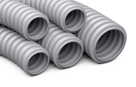 Corrugated pipe for installation of electrical cable. Grey plastic curvilinear hoses set. 3d illustration over white background isolated.