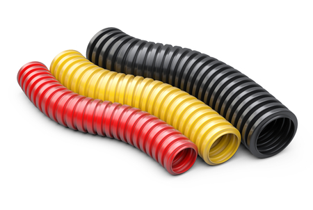 Colored corrugated pipe for installation of electrical cable. Plastic curvilinear hoses set. 3d illustration over white background isolated. Stock Photo