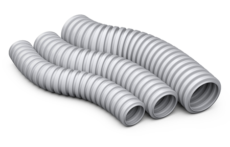 Corrugated pipe for installation of electrical cable. Plastic curvilinear hoses set. 3d illustration over white background isolated.