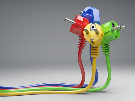 Group colour electric plug with long wires. Isolated on a grey background 3d illustration. Power line concept.