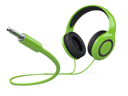 Green headphones with wire and 3.5 mm jack plug. 3d illustration isolated over white background.