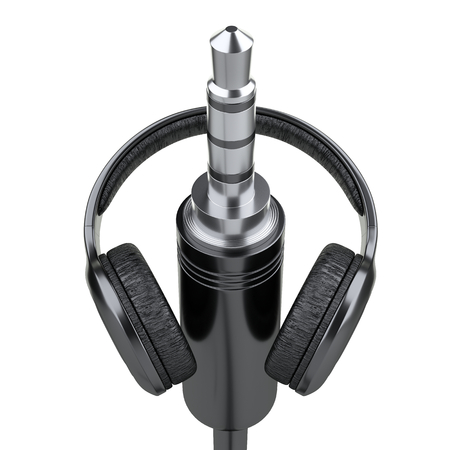 Black headphones with 3.5 mm jack plug. Front view. 3d illustration isolated over white background.