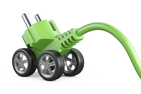 Electric plug on a car wheels. Green power concept. Energy for modern eco vehicles. 3d illustration isolated on a white background.