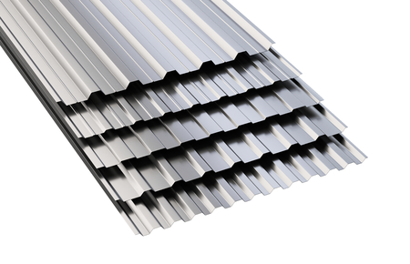 Metal corrugated roof sheets stack. 3d illustration on a white background. Stock Photo