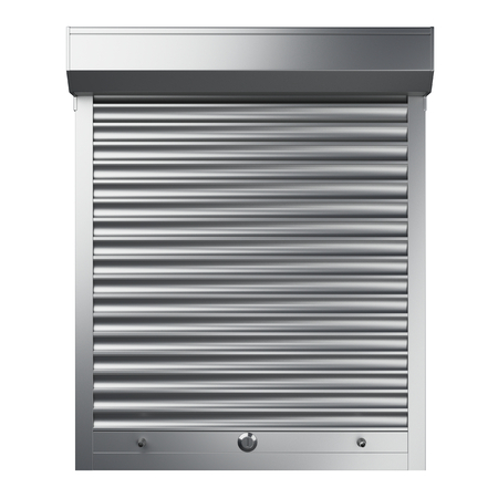 Metal closed roller shutter. Front view. 3d illustration isolated over background. Banque d'images - 100193933