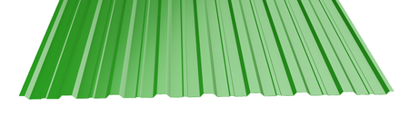 Green metal corrugated roof sheet stack - front view. 3d illustration on a white background.