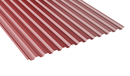 Dark red metal corrugated roof sheet stack - front view. 3d illustration on a white background.