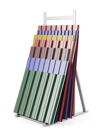 Metal corrugated roof sheets stack on support with various colors. 3d illustration on a white background.
