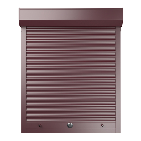 Red metal closed roller shutter. Front view. 3d illustration isolated over background. Banque d'images - 100743470