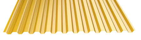 Orange metal corrugated roof sheet stack - front view. 3d illustration on a white background. Stockfoto