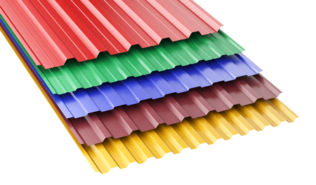 Metal corrugated roof sheets, with various colors. 3d illustration on a white background. Stock Photo