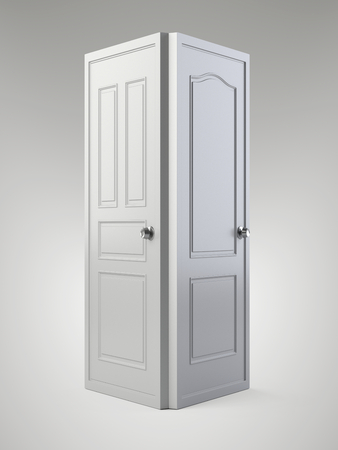 Two white doors that are next to each other. 3d illustration isolated on a background. Stock Photo