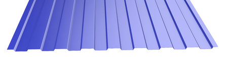 Blue metal corrugated roof sheet stack - front view. 3d illustration on a white background.
