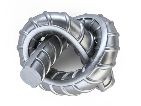 New reinforcements steel bar twisted by a knot close up - top wiew. 3d illustration isolated on white background.