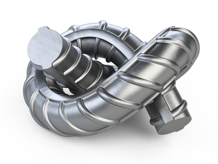 New reinforcements steel bar twisted by a knot close up. 3d illustration isolated on white background.