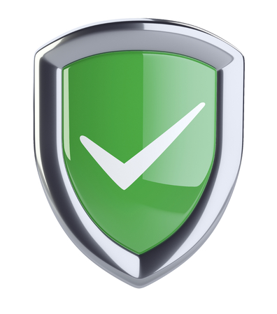Bouclier vert avec coche. Icône de protection. Isolé sur fond blanc illustration 3d. Banque d'images