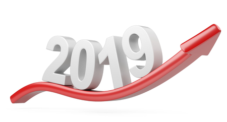 2018 2019 change concept with red arrow line Up. Represents the new year symbol. 3D illustration isolated on white background. Reklamní fotografie
