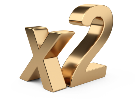 3D golden inscription x2. 3d illustration isolated on white background. Фото со стока