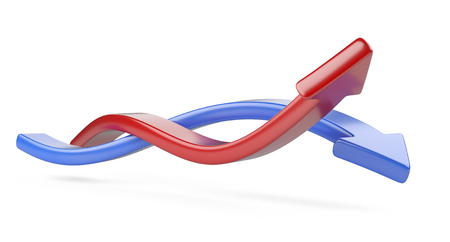 Intertwined red and blue arrows. 3d illustration isolated on a white background.