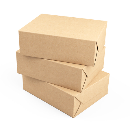 Three box wrapped in recycled paper. Parcel or gift. 3d illustration isolated on a white background.