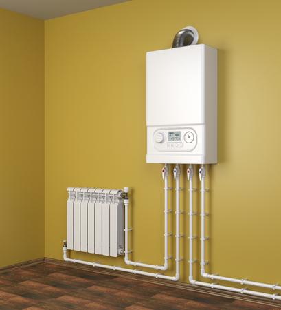 Kocioł gazowy i grzejnik grzejnikowy z rurociągami na pomarańczowej ścianie w domu. System grzewczy. 3d ilustracja na białym tle nad białym tłem. Zdjęcie Seryjne