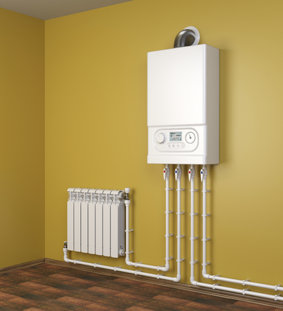 Gas boiler and heater radiator with pipelines on orange wall in house. Heating system. 3d illustration isolated over white background.