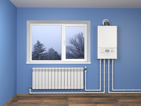 Gas boiler and heater radiator with pipelines on blue wall with window in house. Heating system.  3d illustration isolated over white background. Stock Photo