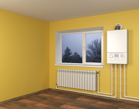 Gas boiler and heater radiator with pipelines on orange wall with window in house. Heating system. 3d illustration isolated over white background. Фото со стока