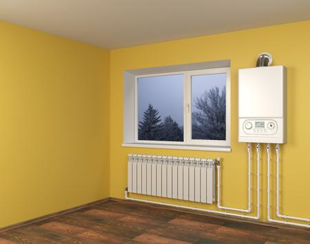 Gaskessel und Heizkörper mit Rohrleitungen an orangefarbener Wand mit Fenster im Haus. Heizungssystem. 3D-Darstellung über weißem Hintergrund. Standard-Bild