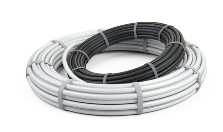 White and black pipes for water. Big packaging rolled up in the form of a ring tied with a nylon ribbon. 3d illustration isolated on a background. 写真素材