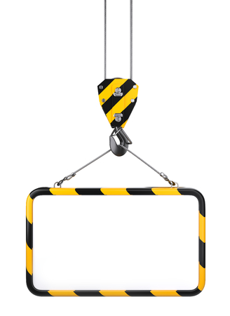 Crane hook hanging on a steel ropes with frame on - template for industrial banner front view. 3D illustration isolated on white background.