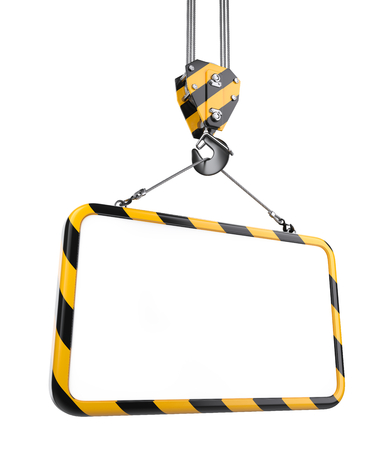 Crane hook hanging on a steel ropes with frame on - template for industrial banner. 3D illustration isolated on white background.