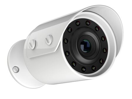 Wireless security surveillance camera. 3d illustration isolated on a white background.